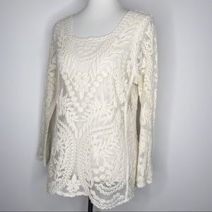 Express Long Sleeve Ivory Lace Top